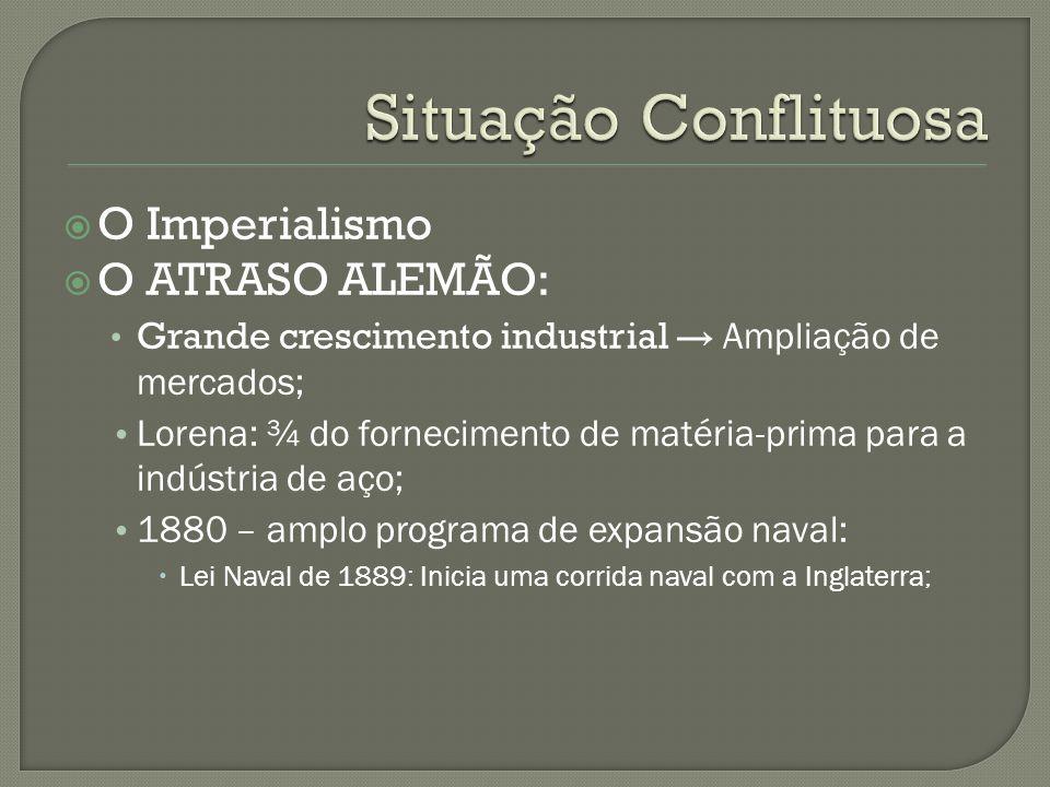  O Imperialismo  O ATRASO ALEMÃO: Grande crescimento industrial → Ampliação de mercados; Lorena: ¾ do fornecimento de matéria-prima para a indústria
