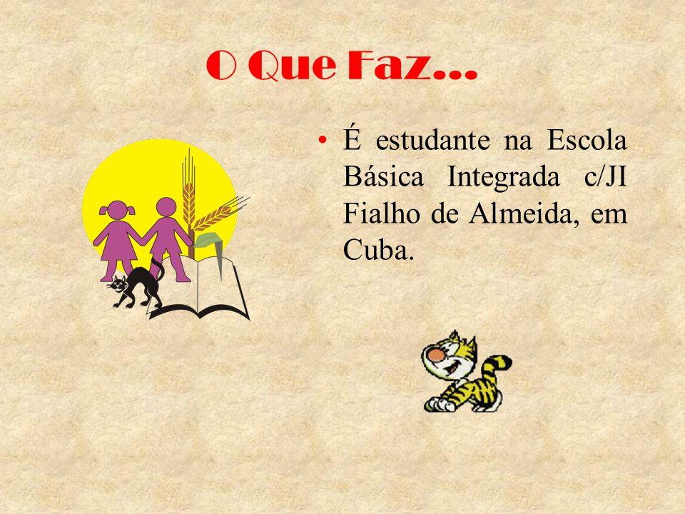 O Que Faz… É estudante na Escola Básica Integrada c/JI Fialho de Almeida, em Cuba.