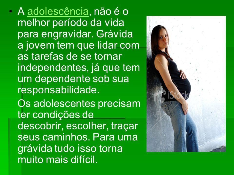 A adolescência, não é o melhor período da vida para engravidar. Grávida a jovem tem que lidar com as tarefas de se tornar independentes, já que tem um