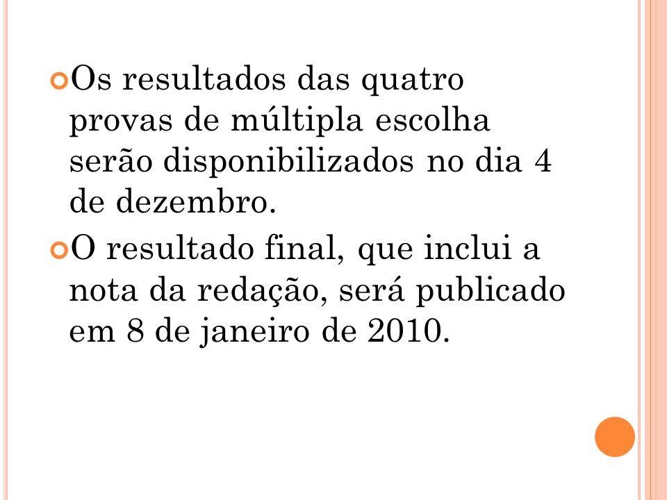 Os resultados das quatro provas de múltipla escolha serão disponibilizados no dia 4 de dezembro.