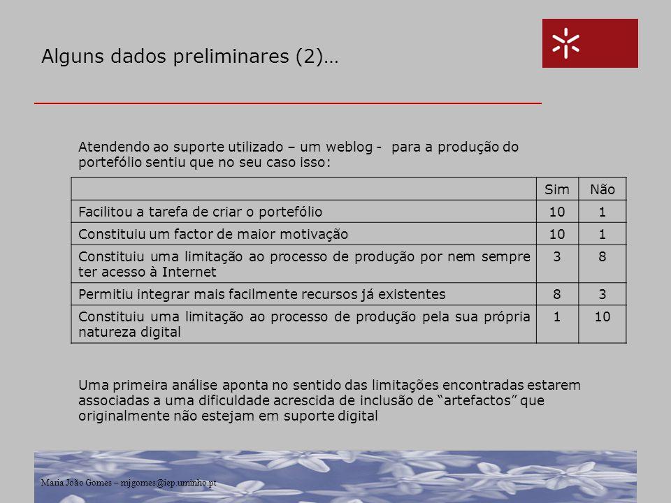 Maria João Gomes – mjgomes@iep.uminho.pt Alguns dados preliminares (2)… Atendendo ao suporte utilizado – um weblog - para a produção do portefólio sen