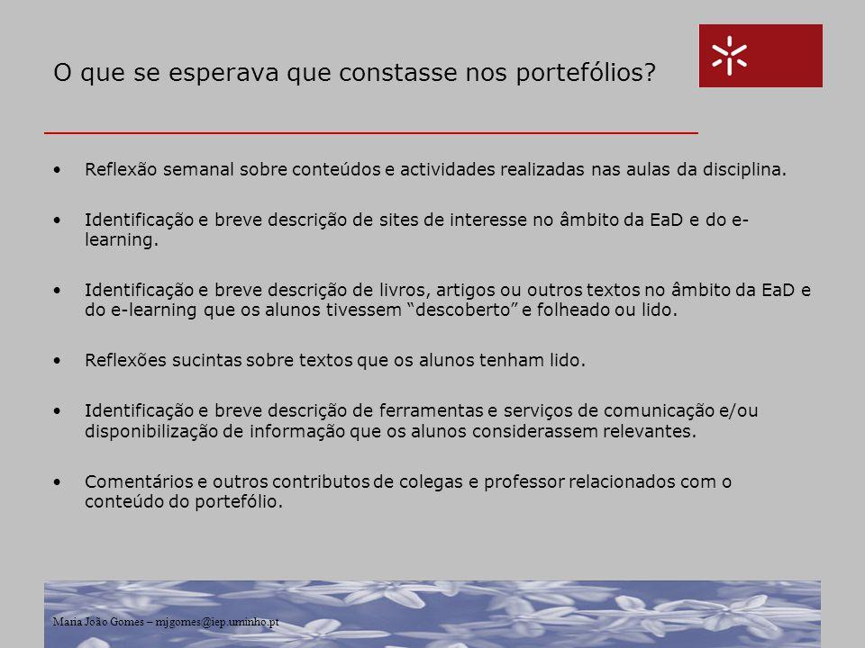 Maria João Gomes – mjgomes@iep.uminho.pt O que se esperava que constasse nos portefólios? Reflexão semanal sobre conteúdos e actividades realizadas na