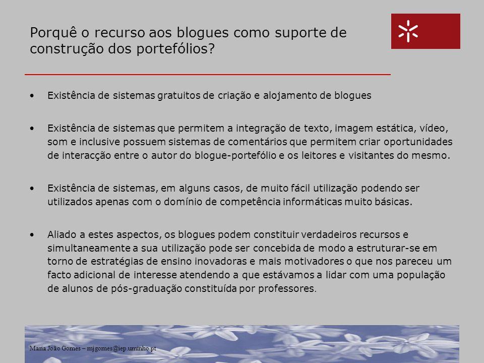 Maria João Gomes – mjgomes@iep.uminho.pt Porquê o recurso aos blogues como suporte de construção dos portefólios? Existência de sistemas gratuitos de