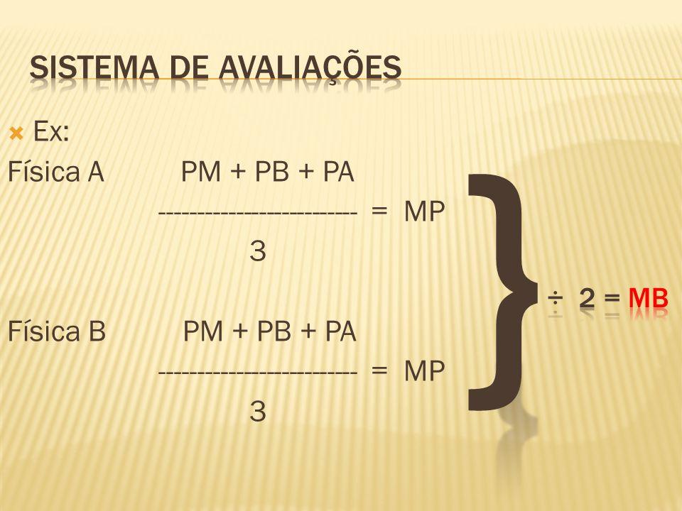  Ex: Física A PM + PB + PA -------------------------- = MP 3 Física B PM + PB + PA -------------------------- = MP 3