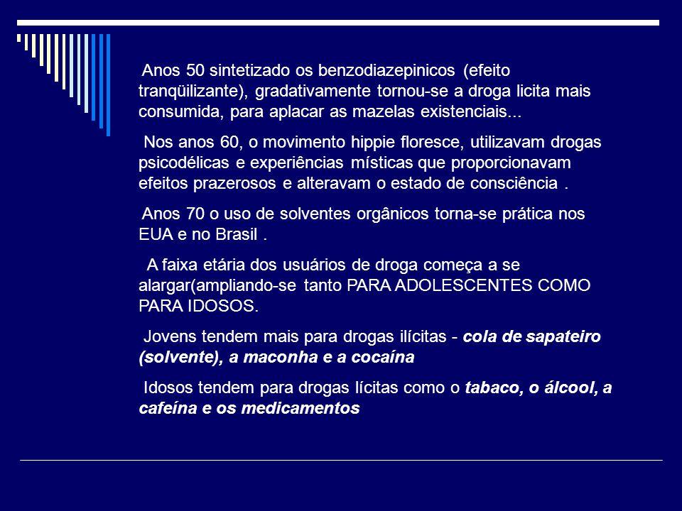 Anos 50 sintetizado os benzodiazepinicos (efeito tranqüilizante), gradativamente tornou-se a droga licita mais consumida, para aplacar as mazelas existenciais...