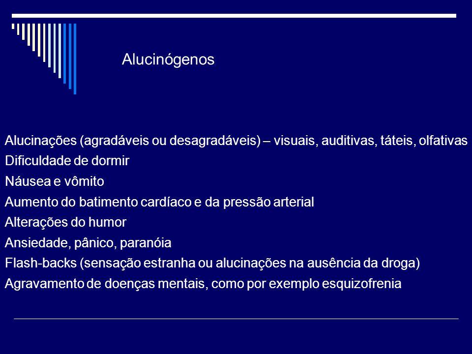 Alucinações (agradáveis ou desagradáveis) – visuais, auditivas, táteis, olfativas Dificuldade de dormir Náusea e vômito Aumento do batimento cardíaco e da pressão arterial Alterações do humor Ansiedade, pânico, paranóia Flash-backs (sensação estranha ou alucinações na ausência da droga) Agravamento de doenças mentais, como por exemplo esquizofrenia Alucinógenos