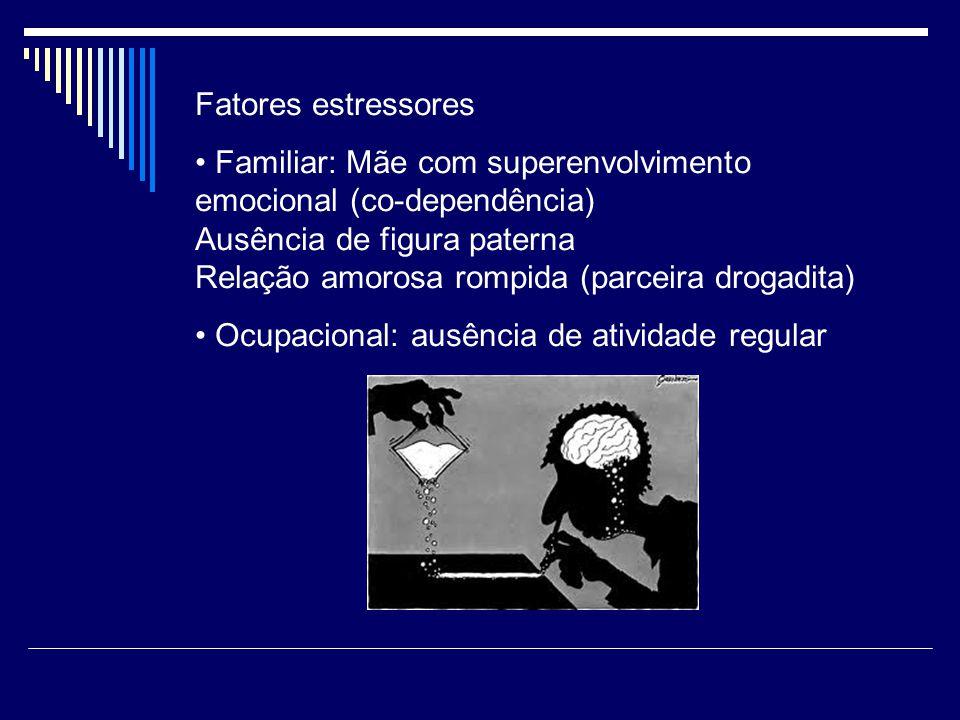Fatores estressores Familiar: Mãe com superenvolvimento emocional (co-dependência) Ausência de figura paterna Relação amorosa rompida (parceira drogadita) Ocupacional: ausência de atividade regular