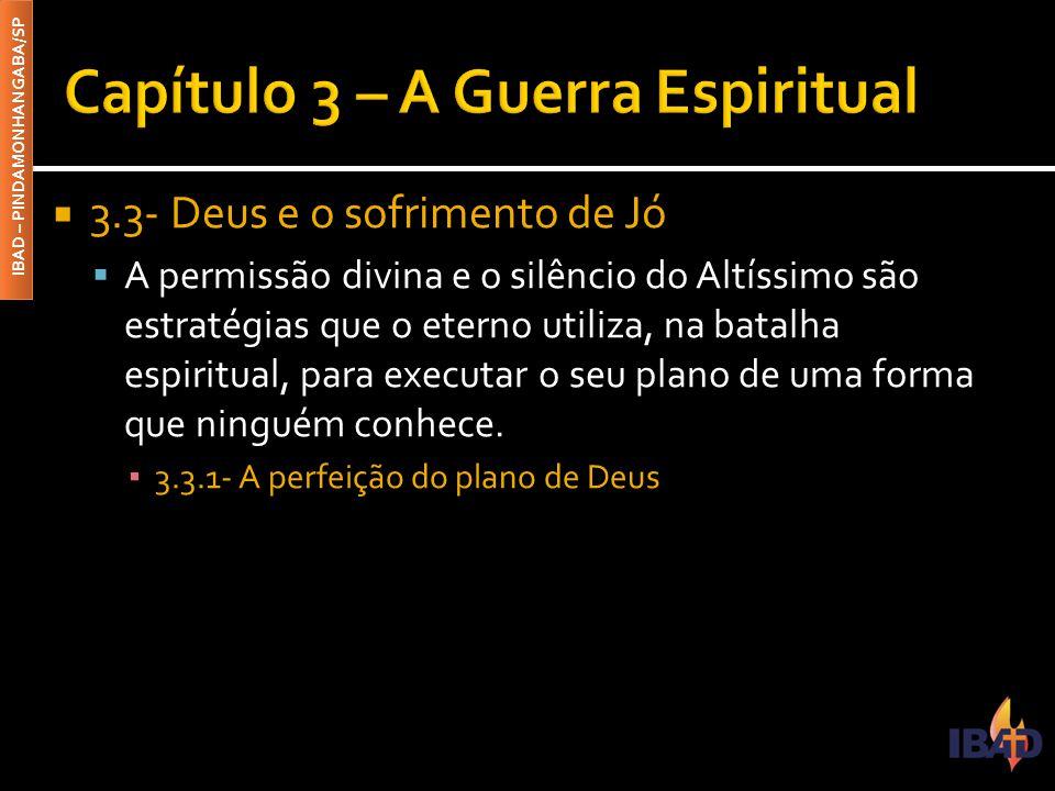 IBAD – PINDAMONHANGABA/SP  3.3- Deus e o sofrimento de Jó  A permissão divina e o silêncio do Altíssimo são estratégias que o eterno utiliza, na bat
