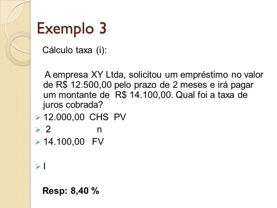 Exemplo 3 Cálculo taxa (i): A empresa XY Ltda, solicitou um empréstimo no valor de R$ 12.500,00 pelo prazo de 2 meses e irá pagar um montante de R$ 14