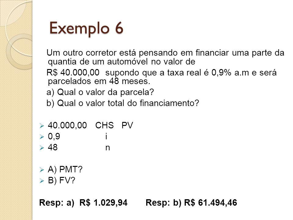 Exemplo 6 Um outro corretor está pensando em financiar uma parte da quantia de um automóvel no valor de R$ 40.000,00 supondo que a taxa real é 0,9% a.