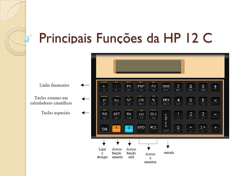 Testando a Calculadora Para saber se a máquina está com as funções OK., siga as instruções: Com a máquina desligada: Segure a tecla X e ligue a calculadora ON e solte o X, o resultado deve ser: -8,8,8,8,8,8,8,8,8,8 USER f g BEGIN GRAD D.MY C PRGM