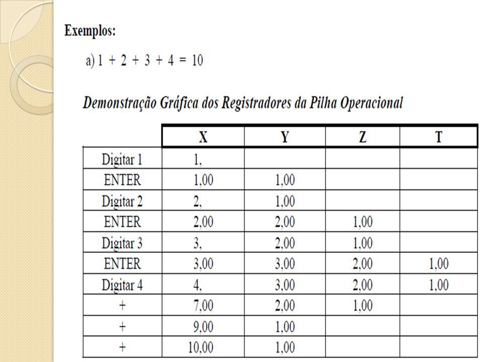 Funções das teclas A maioria das teclas da HP 12 C realiza duas e até três funções: Para usar a função em branco basta pressioná-la Para a função Amarela, pressione e a tecla da função desejada.
