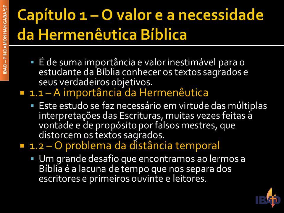 IBAD – PINDAMONHANGABA/SP  É de suma importância e valor inestimável para o estudante da Bíblia conhecer os textos sagrados e seus verdadeiros objeti