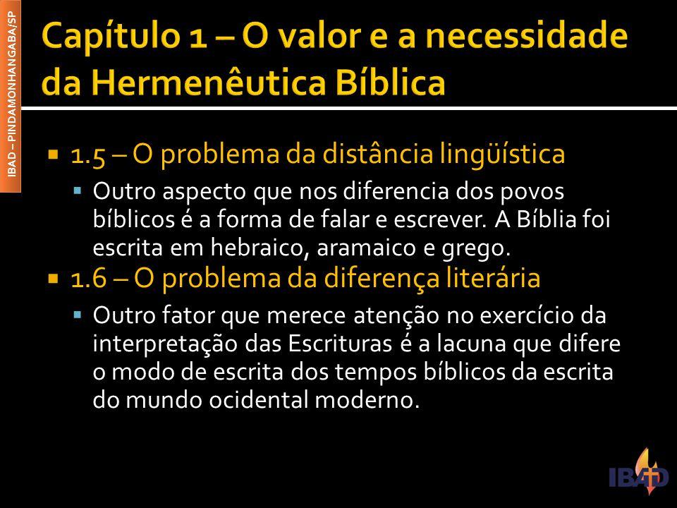 IBAD – PINDAMONHANGABA/SP  1.5 – O problema da distância lingüística  Outro aspecto que nos diferencia dos povos bíblicos é a forma de falar e escre