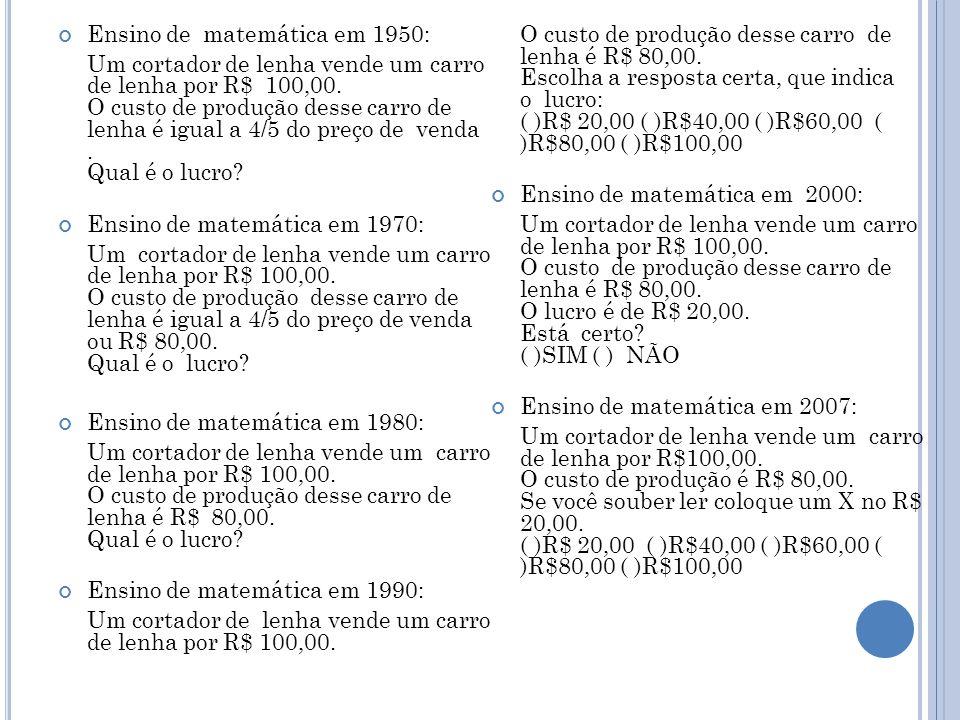 Ensino de matemática em 1950: Um cortador de lenha vende um carro de lenha por R$ 100,00.