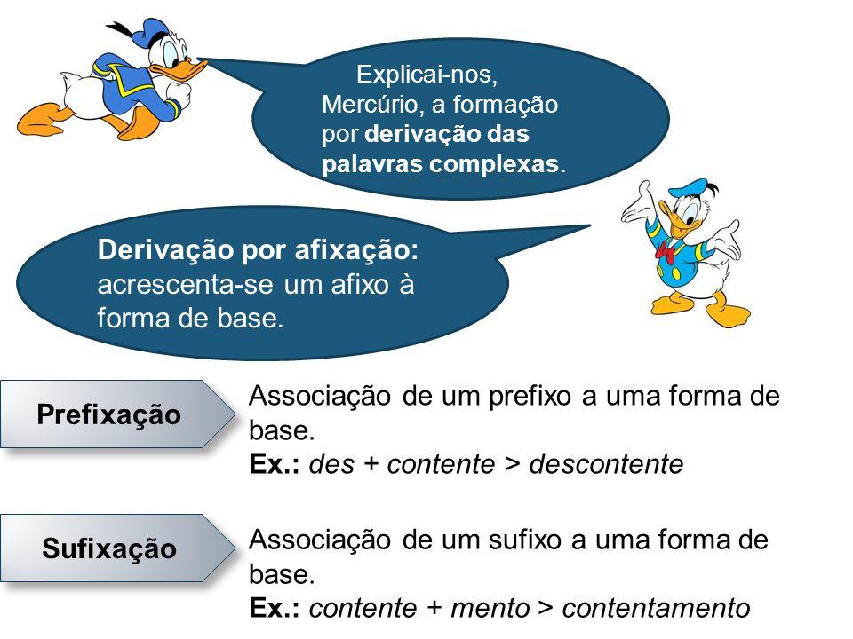 Derivação por afixação: acrescenta-se um afixo à forma de base. Prefixação Sufixação Associação de um prefixo a uma forma de base. Ex.: des + contente