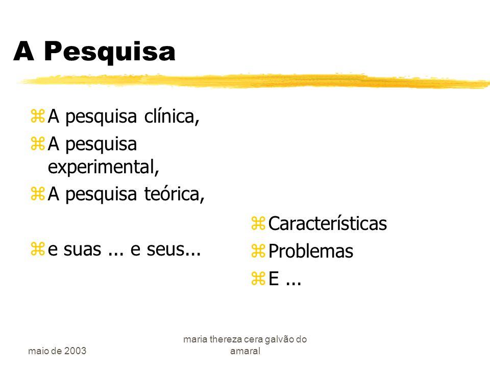 maio de 2003 maria thereza cera galvão do amaral A Pesquisa zA pesquisa clínica, zA pesquisa experimental, zA pesquisa teórica, ze suas...
