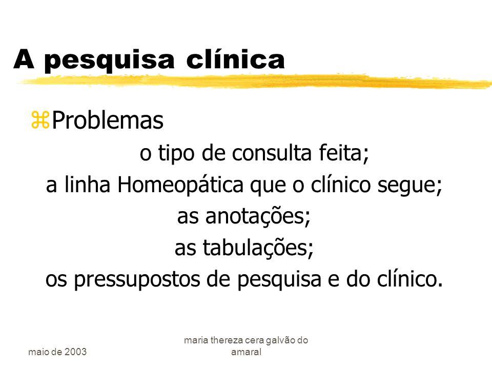 maio de 2003 maria thereza cera galvão do amaral A pesquisa clínica zProblemas o tipo de consulta feita; a linha Homeopática que o clínico segue; as anotações; as tabulações; os pressupostos de pesquisa e do clínico.