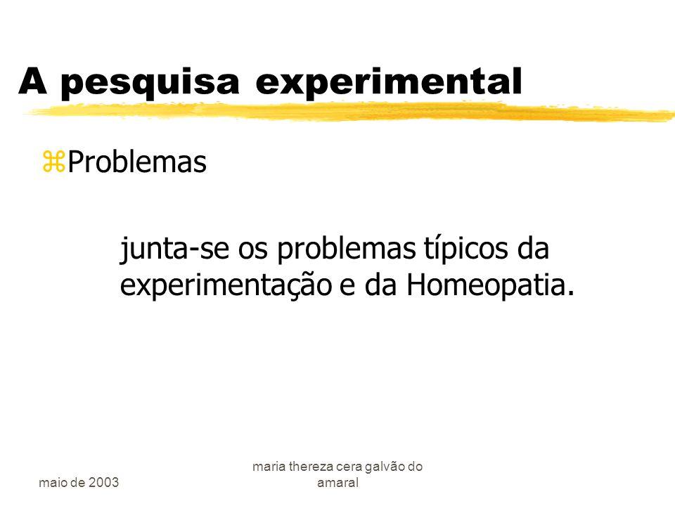 maio de 2003 maria thereza cera galvão do amaral A pesquisa experimental zProblemas junta-se os problemas típicos da experimentação e da Homeopatia.