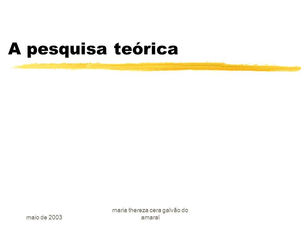 maio de 2003 maria thereza cera galvão do amaral A pesquisa teórica