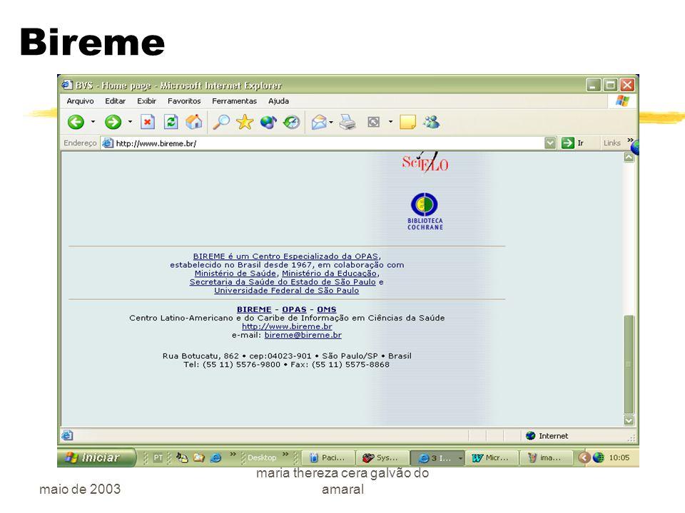 maio de 2003 maria thereza cera galvão do amaral Bireme