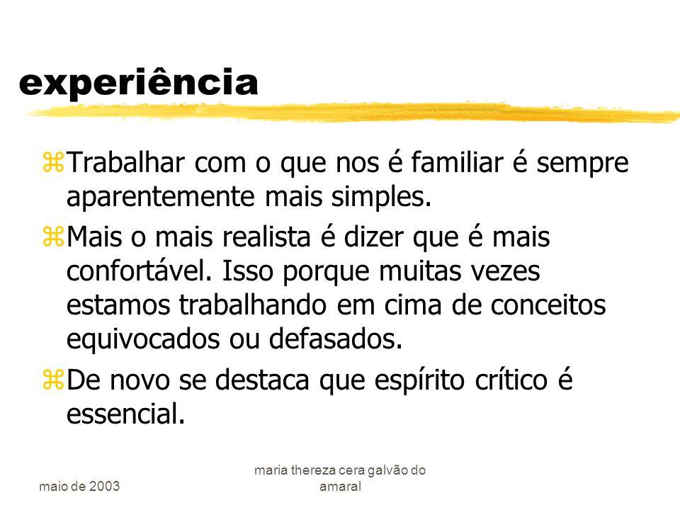 maio de 2003 maria thereza cera galvão do amaral A pesquisa clínica zE....