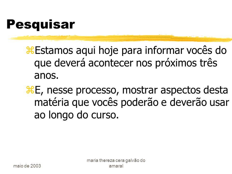 maio de 2003 maria thereza cera galvão do amaral A pesquisa teórica zO porque .