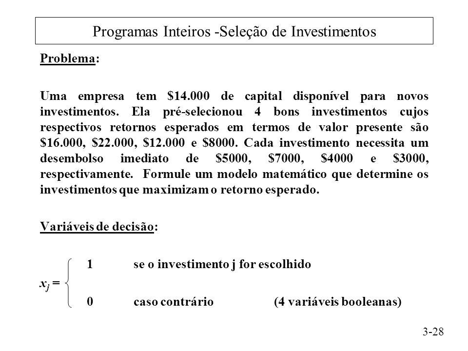 Programas Inteiros -Seleção de Investimentos Problema: Uma empresa tem $14.000 de capital disponível para novos investimentos.