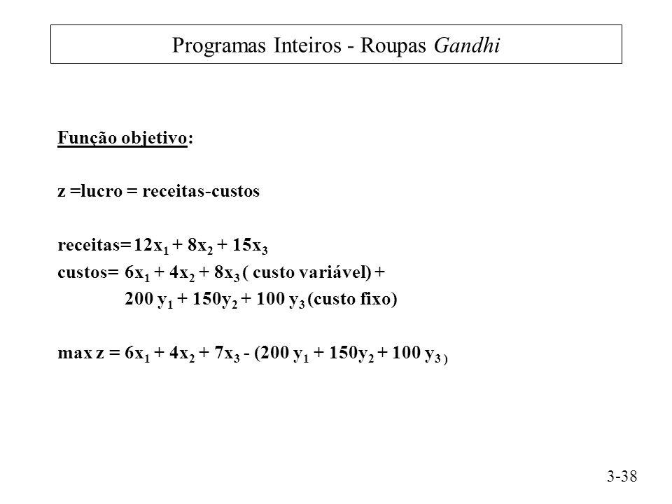 Programas Inteiros - Roupas Gandhi Função objetivo: z =lucro = receitas-custos receitas= 12x 1 + 8x 2 + 15x 3 custos= 6x 1 + 4x 2 + 8x 3 ( custo variável) + 200 y 1 + 150y 2 + 100 y 3 (custo fixo) max z = 6x 1 + 4x 2 + 7x 3 - (200 y 1 + 150y 2 + 100 y 3 ) 3-38