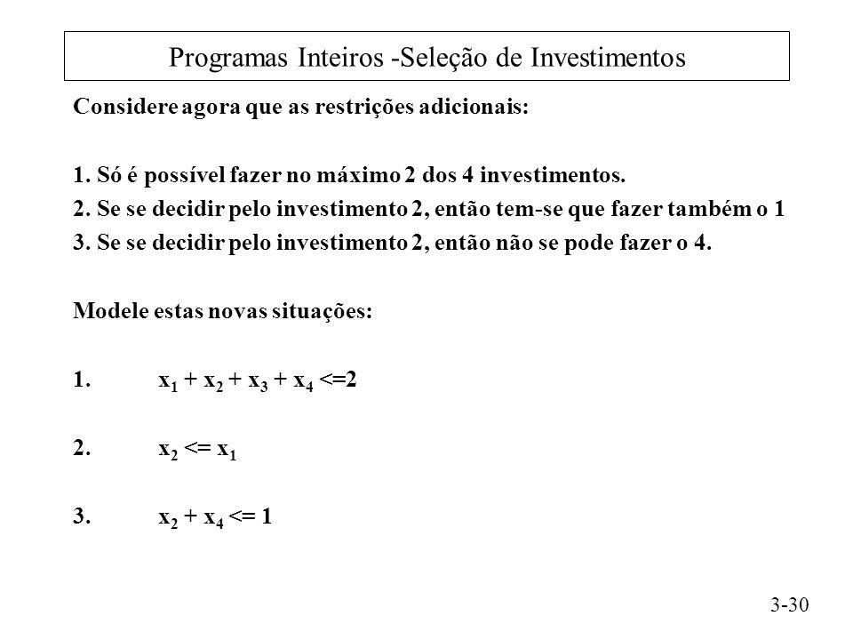 Programas Inteiros -Seleção de Investimentos Considere agora que as restrições adicionais: 1.