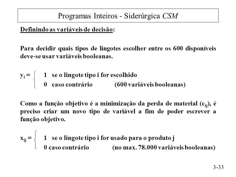 Programas Inteiros - Siderúrgica CSM Definindo as variáveis de decisão: Para decidir quais tipos de lingotes escolher entre os 600 disponíveis deve-se usar variáveis booleanas.