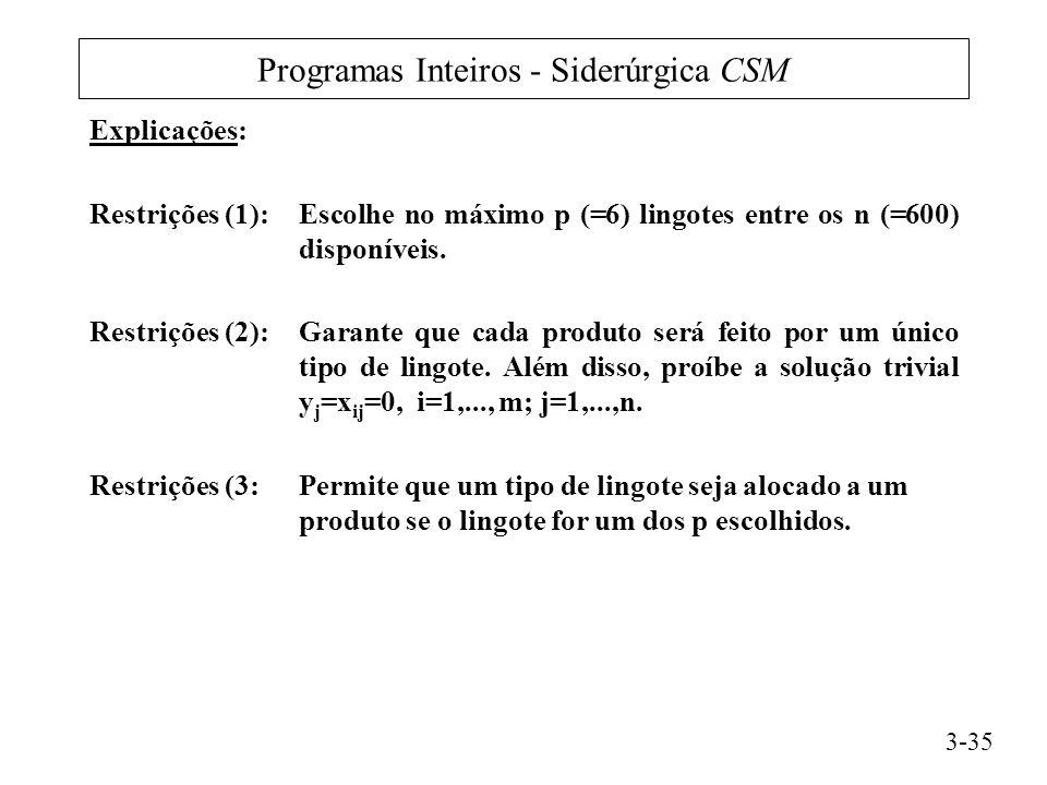 Programas Inteiros - Siderúrgica CSM Explicações: Restrições (1):Escolhe no máximo p (=6) lingotes entre os n (=600) disponíveis.