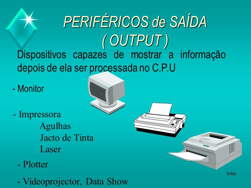 PERIFÉRICOS de ENTRADA ( INPUT ) Dispositivos através dos quais a informação é introduzida no computador.
