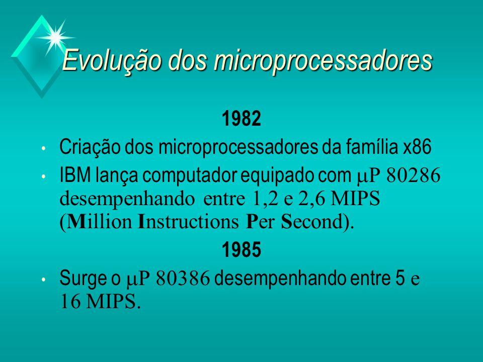 Evolução dos microprocessadores Década de 70 Intel produz microprocessador com sucesso comercial (8088 e 8086).