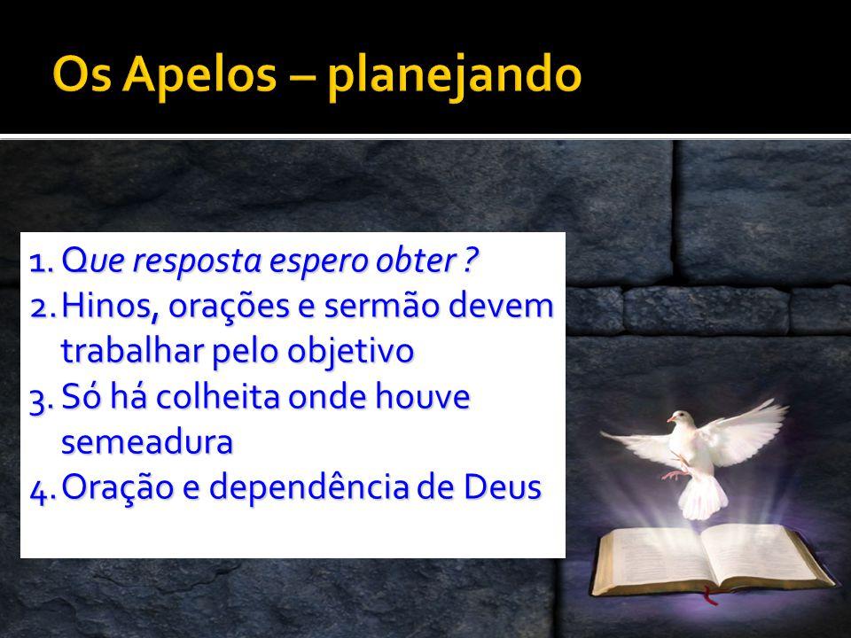 1.Q ue resposta espero obter ? 2.H inos, orações e sermão devem trabalhar pelo objetivo 3.S ó há colheita onde houve semeadura 4.O ração e dependência