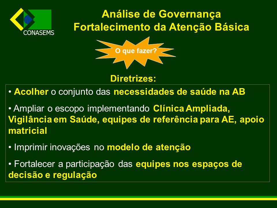 CONASEMS Análise de Governança Fortalecimento da Atenção Básica O que fazer.