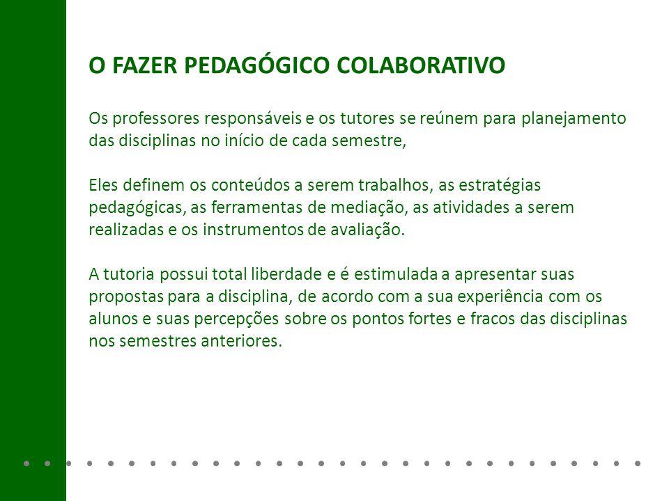 O FAZER PEDAGÓGICO COLABORATIVO Os professores responsáveis e os tutores se reúnem para planejamento das disciplinas no início de cada semestre, Eles