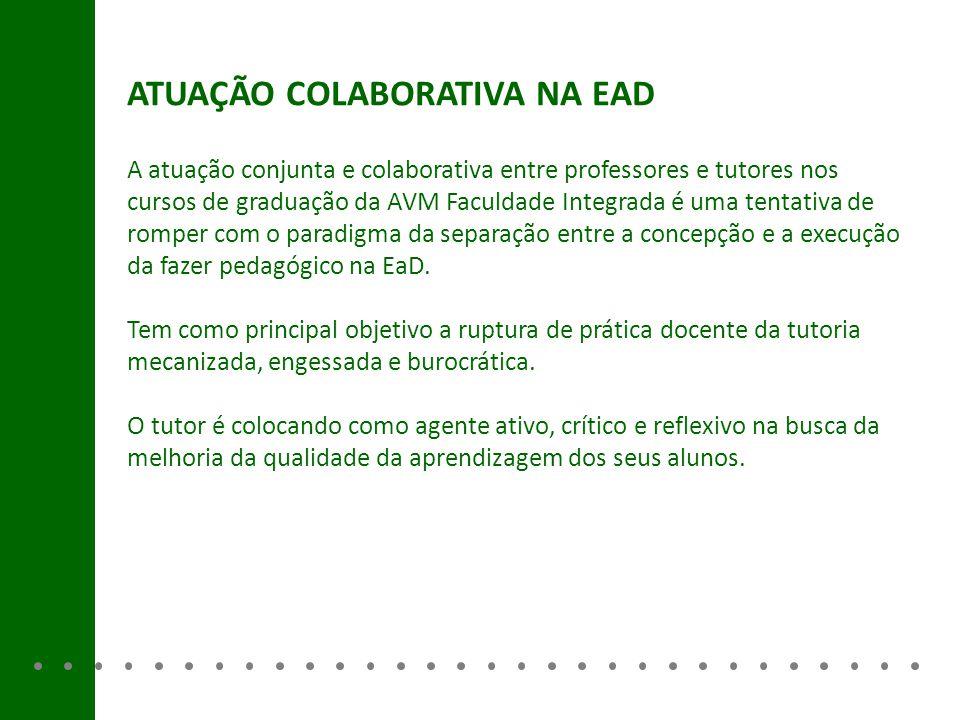 ATUAÇÃO COLABORATIVA NA EAD A atuação conjunta e colaborativa entre professores e tutores nos cursos de graduação da AVM Faculdade Integrada é uma ten