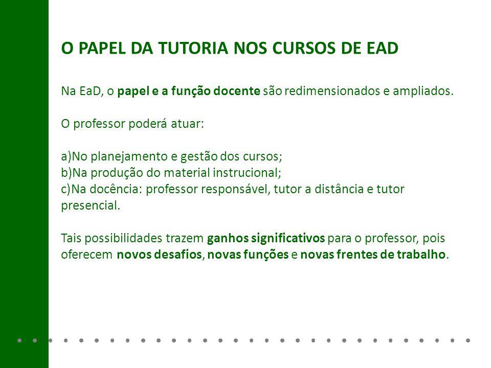 Na EaD, o papel e a função docente são redimensionados e ampliados. O professor poderá atuar: a)No planejamento e gestão dos cursos; b)Na produção do