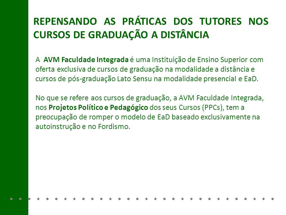 REPENSANDO AS PRÁTICAS DOS TUTORES NOS CURSOS DE GRADUAÇÃO A DISTÂNCIA A AVM Faculdade Integrada é uma Instituição de Ensino Superior com oferta exclu