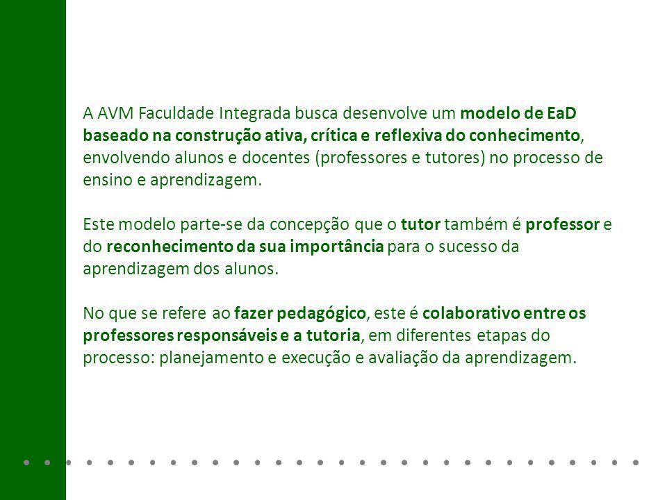 A AVM Faculdade Integrada busca desenvolve um modelo de EaD baseado na construção ativa, crítica e reflexiva do conhecimento, envolvendo alunos e doce
