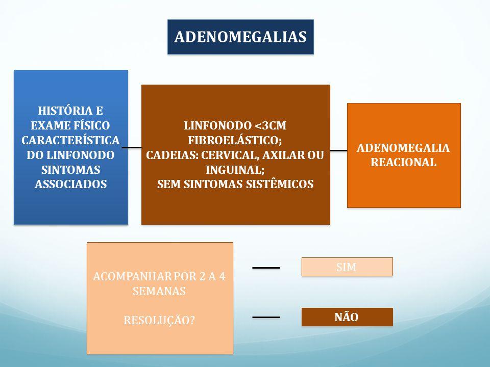 ADENOMEGALIAS HISTÓRIA E EXAME FÍSICO CARACTERÍSTICA DO LINFONODO SINTOMAS ASSOCIADOS HISTÓRIA E EXAME FÍSICO CARACTERÍSTICA DO LINFONODO SINTOMAS ASSOCIADOS LINFONODO <3CM FIBROELÁSTICO; CADEIAS: CERVICAL, AXILAR OU INGUINAL; SEM SINTOMAS SISTÊMICOS LINFONODO <3CM FIBROELÁSTICO; CADEIAS: CERVICAL, AXILAR OU INGUINAL; SEM SINTOMAS SISTÊMICOS ADENOMEGALIA REACIONAL ACOMPANHAR POR 2 A 4 SEMANAS RESOLUÇÃO.