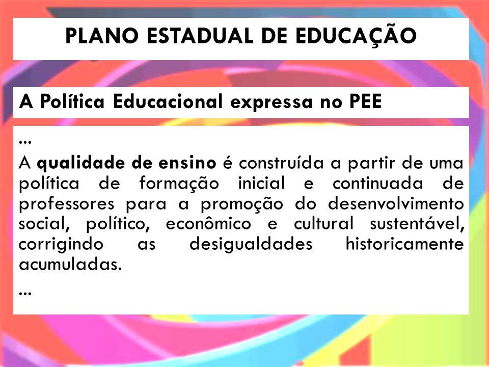 PLANO ESTADUAL DE EDUCAÇÃO A Política Educacional expressa no PEE...