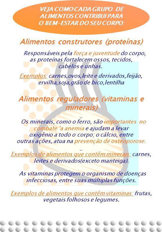 Alimentos construtores (proteínas) Responsáveis pela força e juventude do corpo, as proteínas fortalecem ossos, tecidos, cabelos e unhas. Exemplos: ca