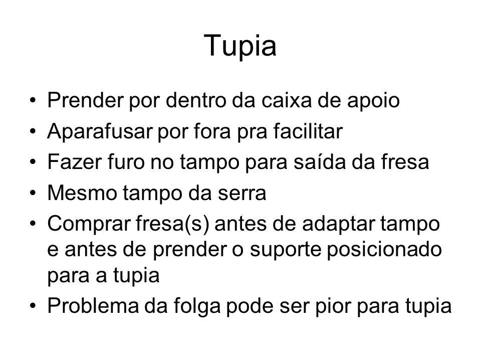 Tupia Prender por dentro da caixa de apoio Aparafusar por fora pra facilitar Fazer furo no tampo para saída da fresa Mesmo tampo da serra Comprar fres