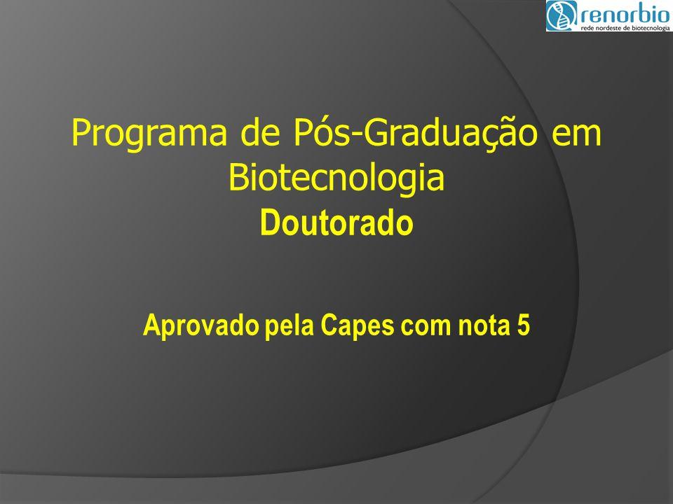 Programa de Pós-Graduação em Biotecnologia Doutorado Aprovado pela Capes com nota 5