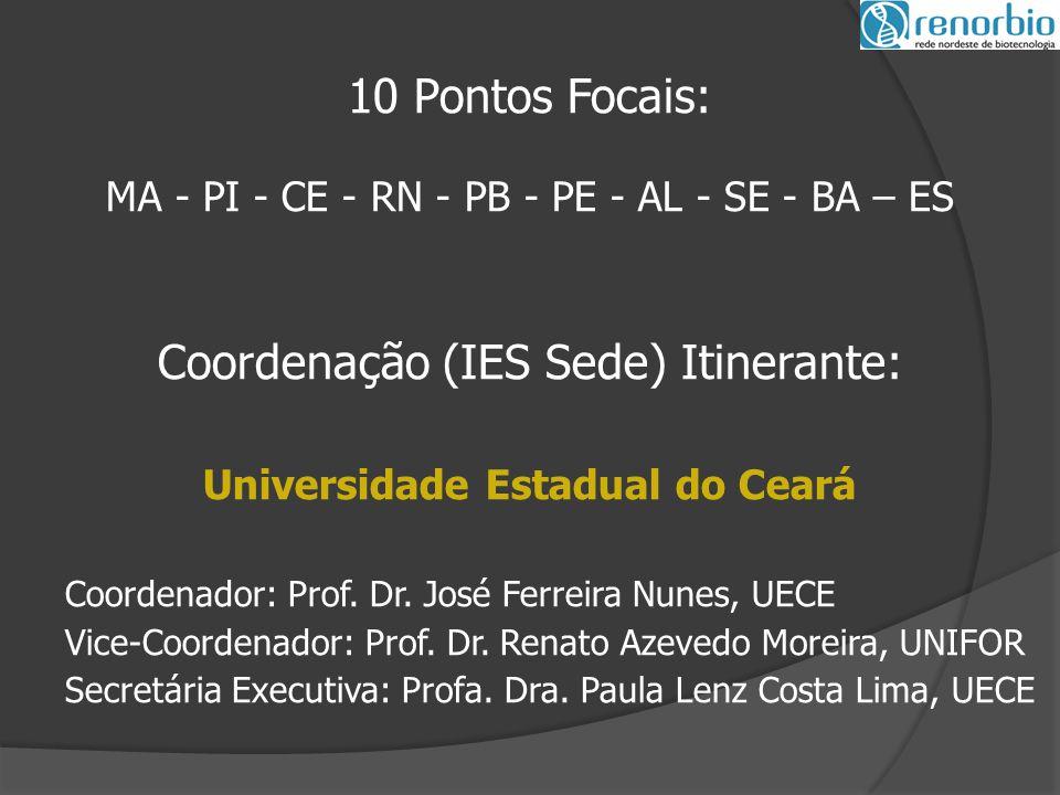 10 Pontos Focais: MA - PI - CE - RN - PB - PE - AL - SE - BA – ES Coordenação (IES Sede) Itinerante: Universidade Estadual do Ceará Coordenador: Prof.