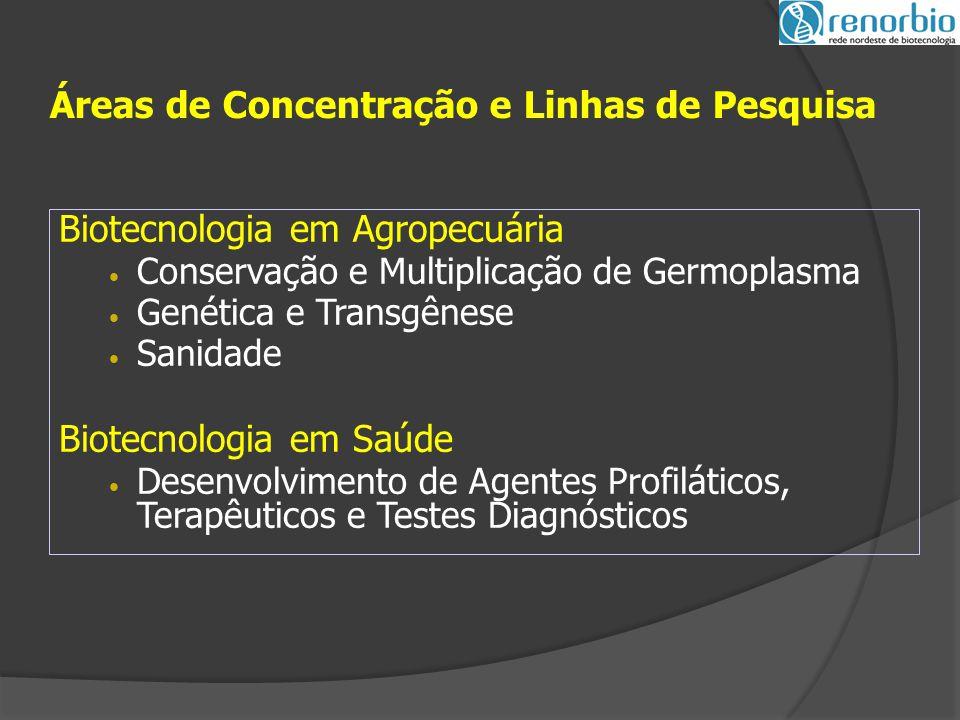 Biotecnologia em Agropecuária Conservação e Multiplicação de Germoplasma Genética e Transgênese Sanidade Biotecnologia em Saúde Desenvolvimento de Agentes Profiláticos, Terapêuticos e Testes Diagnósticos Áreas de Concentração e Linhas de Pesquisa