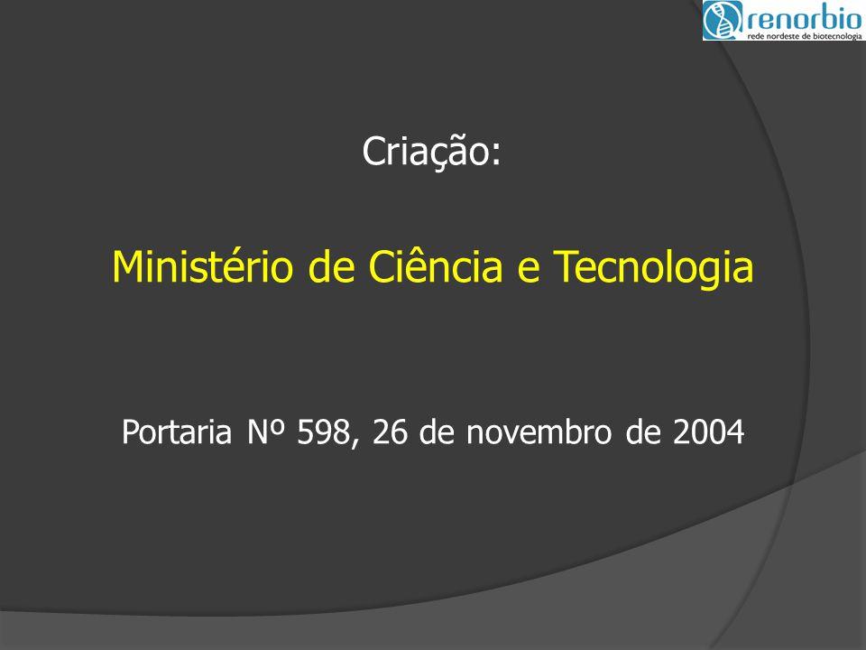 Criação: Ministério de Ciência e Tecnologia Portaria Nº 598, 26 de novembro de 2004