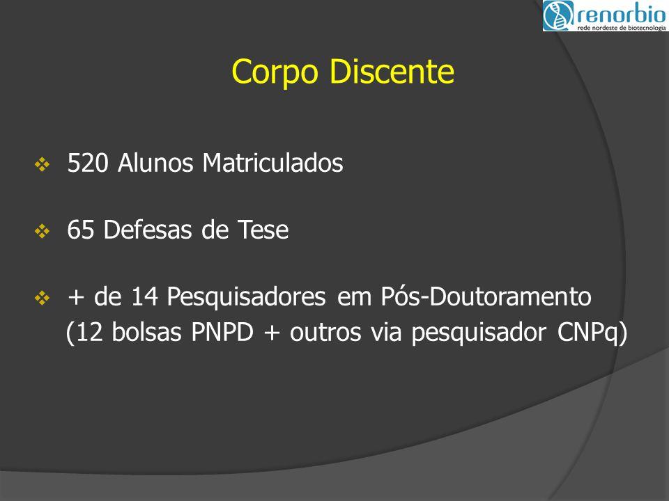  520 Alunos Matriculados  65 Defesas de Tese  + de 14 Pesquisadores em Pós-Doutoramento (12 bolsas PNPD + outros via pesquisador CNPq) Corpo Discente